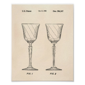 Wine Glass 1986 Patent Art Old Peper Poster