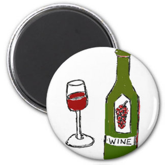 WINE GLASS AND BOTTLE SKETCH by jill 6 Cm Round Magnet