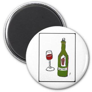 WINE GLASS AND BOTTLE SKETCH by jill Fridge Magnet