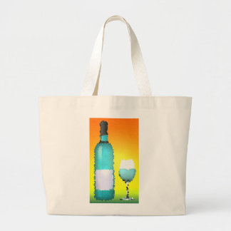wine glass and bottle : stained glass canvas bags