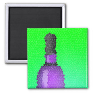 wine glass and bottle : stained glass square magnet