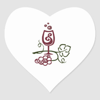 WINE GLASS AND GRAPES HEART STICKER