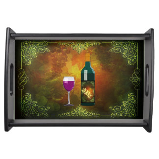 Wine Glass and Wine Bottle on Ornate Background Serving Tray