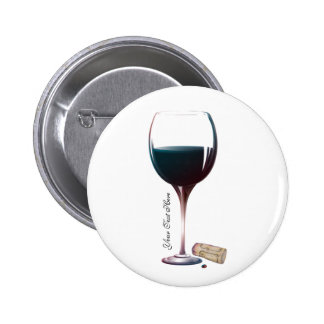 Wine Glass Art Personalised Logo 6 Cm Round Badge