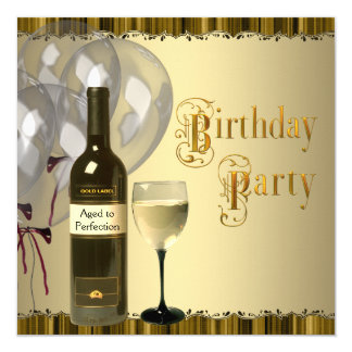 Wine Glass Bottle Any Number Birthday Party Card