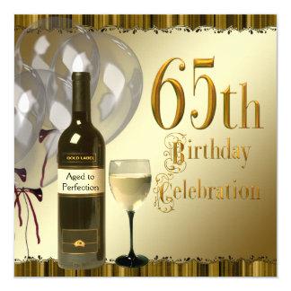 Wine Glass Bottle Black Gold 65th Birthday Party 13 Cm X 13 Cm Square Invitation Card