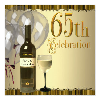Wine Glass Bottle Gold 65th Birthday Party 13 Cm X 13 Cm Square Invitation Card
