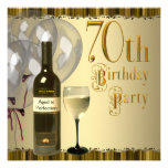 Wine Glass Bottle Gold 70th Birthday Party Personalised Announcements