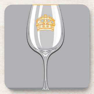 Wine Glass gold rim n crown Drink Coaster