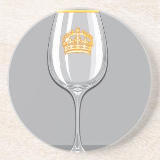Wine Glass gold rim n crown Drink Coasters
