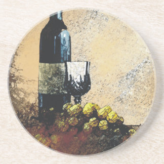wine glass grapes drink coasters gold