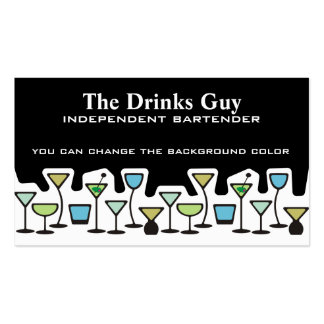 Wine glass martini mixed drinks bartender biz card pack of standard business cards