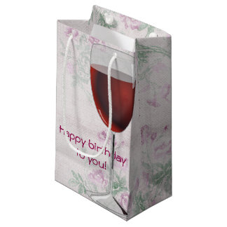 wine glass on retro floral background small gift bag
