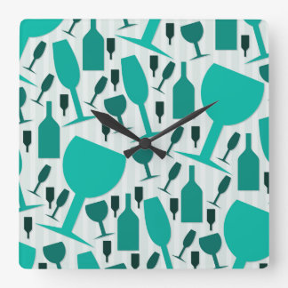 Wine glass pattern square wall clock