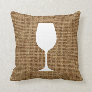 Wine glass silhouette and faux burlap cushion