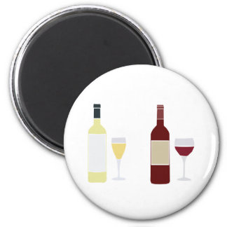 Wine Glasses And Bottles - Colored Imprint Stencil Refrigerator Magnet