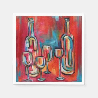 Wine Glasses and Bottles Disposable Serviette