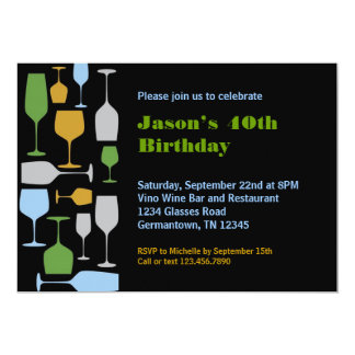 Wine Glasses Birthday Party Invitation