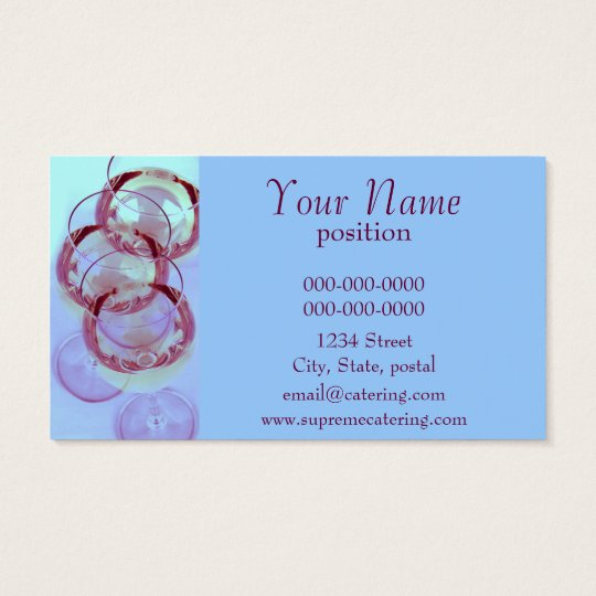 wine glasses catering business card template