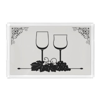 Wine Glasses Grapes Custom Color and Scroll Border Acrylic Tray