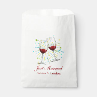 Wine Glasses Red Burgundy Wedding Just Married Favour Bags