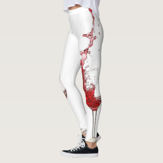 Wine Glasses Splashing Red Wine Leggings