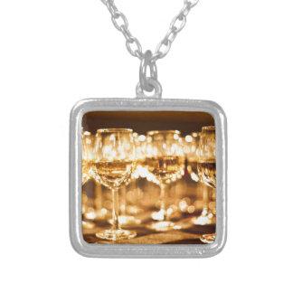 Wine Glasses Square Pendant Necklace
