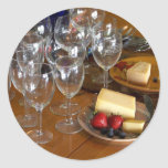 Wine Glasses Stawberries And Cheese Still Life Stu Round Sticker