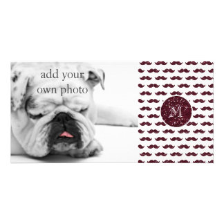 Wine Glitter Mustache Pattern Your Monogram Photo Card