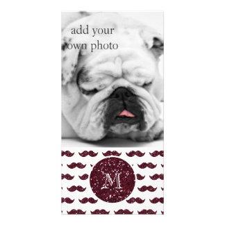 Wine Glitter Mustache Pattern Your Monogram Custom Photo Card
