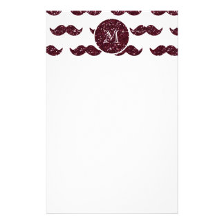Wine Glitter Mustache Pattern Your Monogram Stationery Design