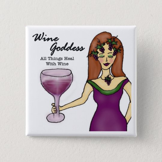 """Wine Goddess """"All Things Heal..."""" 15 Cm Square Badge"""
