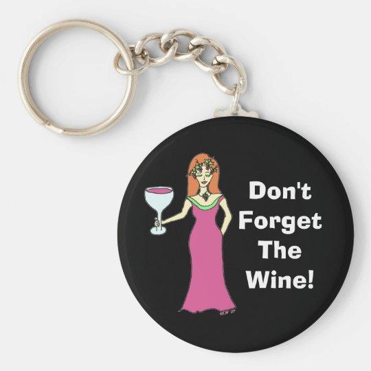 "Wine Goddess ""Don't Forget The Wine"" Dark Basic Round Button Key Ring"
