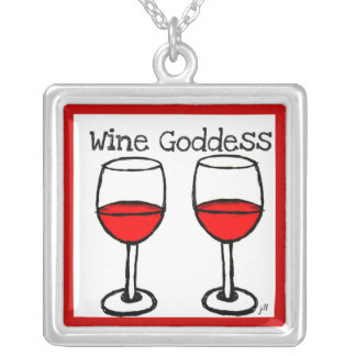 """WINE GODDESS"" FUN RED WINE PRINT SILVER PLATED NECKLACE"