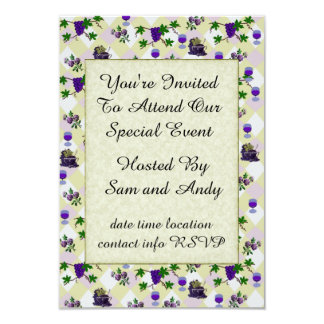 """Wine, Grapes, and Jelly 3.5"""" X 5"""" Invitation Card"""