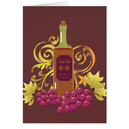 Wine & Grapes Blank Notecard