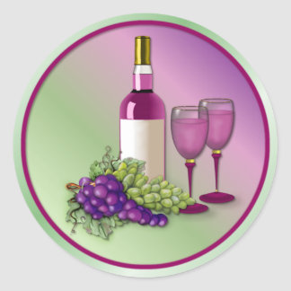 Wine & Grapes Toast Round Sticker
