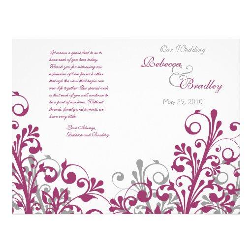 wine gray white abstract floral wedding program flyer design