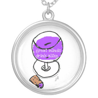 "Wine ""Great Minds Drink Alike"" Silver Plated Necklace"