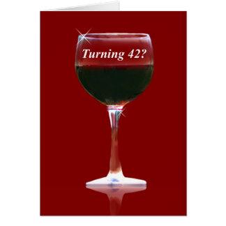 Wine Happy 42nd Birthday Card
