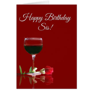 Wine Happy Birthday to Sister Card
