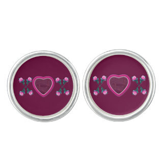 Wine Hearts & Roses X's & O's Photo Frame Cuff Links