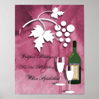 Wine Humour Purple White Art Print Poster