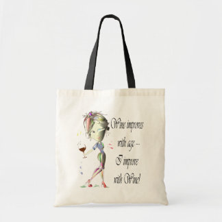 Wine improves with age, humorous art gifts budget tote bag