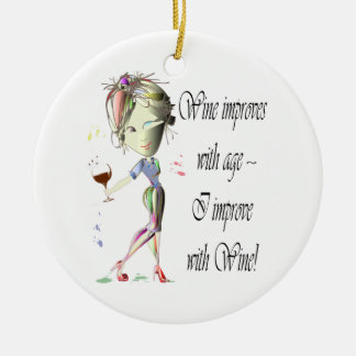 Wine improves with age, humorous art gifts christmas ornament