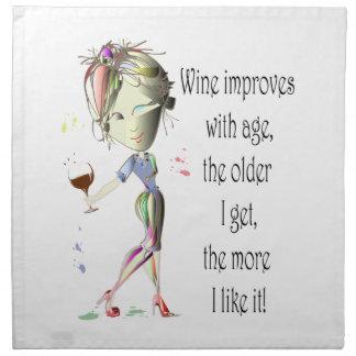 Wine Improves with Age Humorous Wine Saying Napkin