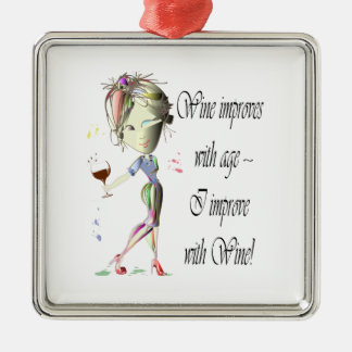 Wine improves with age, humorous Women and Wine Christmas Ornament