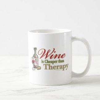 Wine Is Cheaper Than Therapy Basic White Mug