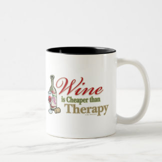 Wine Is Cheaper Than Therapy Two-Tone Mug