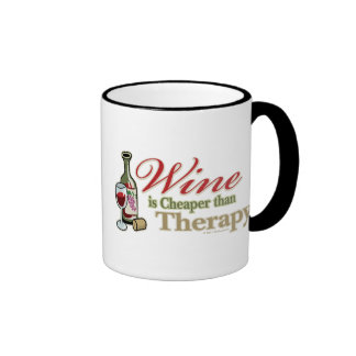 Wine Is Cheaper Than Therapy Ringer Coffee Mug